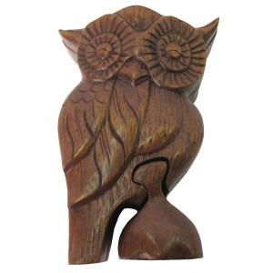 Suar Wood Owl Puzzle Box