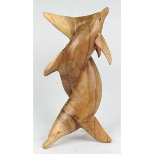 Suar Wood Dolphins Sculpture - 40cm