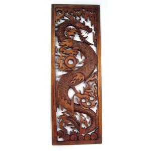 Suar Wood Dragon Wall Hanging Panel - 100cm
