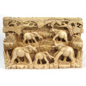 Suar Wood Elephants Wall Hanging Panel - 48.5cm