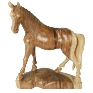 Suar Wood Horse Statue Natural Finish - 60cm