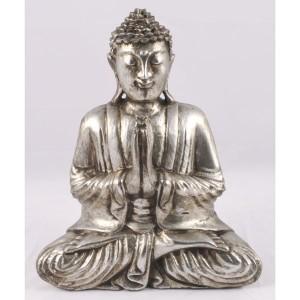 Suar Wood Praying Thai Buddha Antique Silver Finish 31.5cm