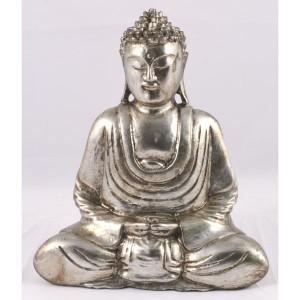 Suar Wood Thai Buddha Antique Silver Finish 29cm