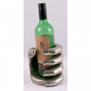 Hibiscus Wood Hand Wine Bottle Holder - Antique Silver Finish