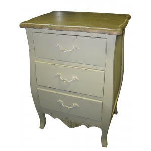 Loire Range Antique Cream French Style 3 Drawer Bedside Table POLISHED - 65cm