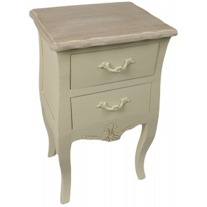 Loire Range Antique Cream French Style 2 Drawer Bedside Table POLISHED - 67cm