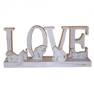 Wooden Love On Base With Cats