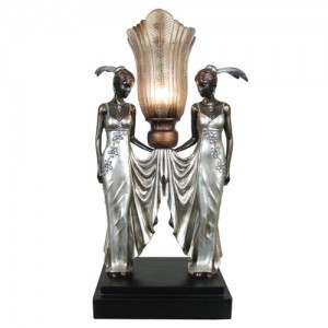 Art Deco/Nouveau Twin Lady Figurine Table Lamp + Free Bulb