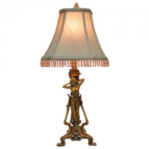 Art Deco/Nouveau Lady Figurine Table Lamp+ Free Bulb