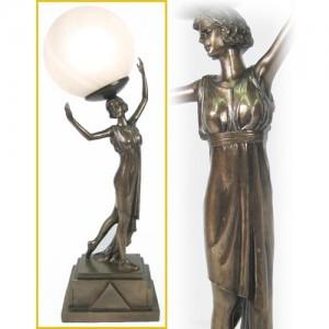 Art Deco Lady Figurine Table Lamp + Free Bulb