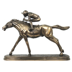 Racehorse & Jockey Resin Bronze Finish - The Favourite