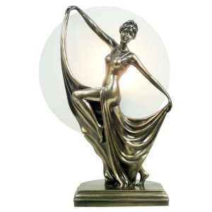 Art Deco Dancing Lady Figurine Table Lamp + Free Bulb