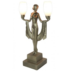 Art Deco Nude Figurine Double Lamp 47cm Free Bulbs