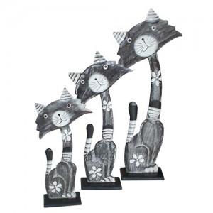 Albesia Wood Cat Figures - Set/3