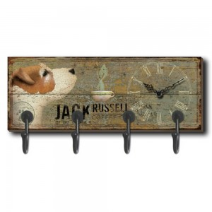 Jack Russell Wall Hanger (4 Hooks) With Clock