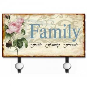 Family Metal Wall Coat Hanger (2 Hooks)
