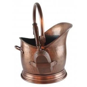 Coal Scuttle With Shovel - Antique Copper Finish
