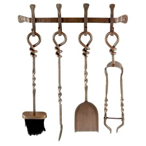 Hanging Fire Tools Set - Antique Copper Finish