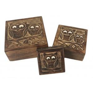 Mango Wood Owl Design Trinket Jewellery Boxes - Set/3