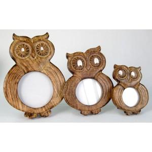 Mango Wood Ollie Owl Design Photo Frames - Set/3