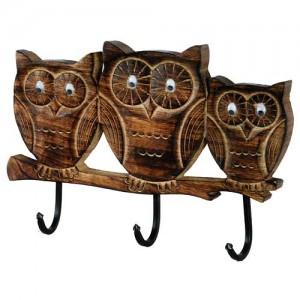 Mango Wood Ollie Owl Design Triple Coat Hooks