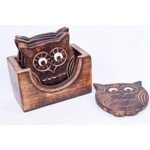 Mango Wood Ollie Owl Design Coaster Set