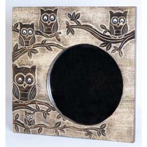 Mango Wood Square Ollie Owl Design Mirror