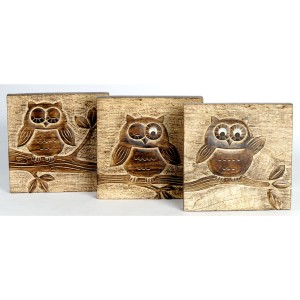 Mango Wood Ollie Owl Design Wall Plaques