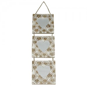 Mango Wood Heart Design Triple Hanging Photo Frame