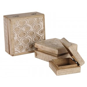 Mango Wood Heart Design Trinket Jewellery Square Boxes - Set/3