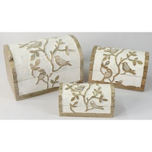 Mango Wood Bird Design Domed Trinket Jewellery Boxes - Set/3