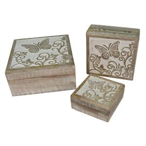 Mango Wood Butterfly Design Trinket Jewellery Boxes - Set/3