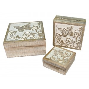 Mango Wood Butterfly Design Trinket Jewellery Boxes - Set/3