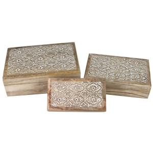 Mango Wood Sulfi Design Oblong Trinket Jewellery Boxes - Set/3