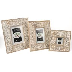 Mango Wood Sulfi Design Photo Frames - Set/3