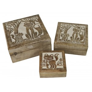 Mango Wood Fox Design Square Trinket Jewellery Boxes - Set/3