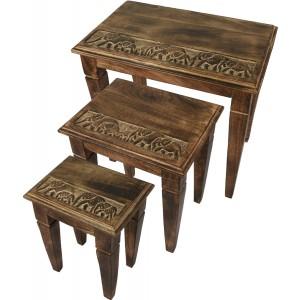 Set/3 Elephant Design Nest Of Tables Mango Wood