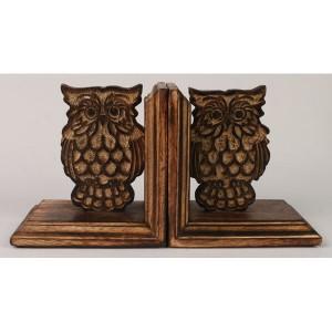 Mango Wood Owl Design Bookends