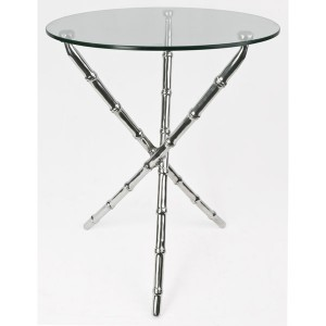 Aluminium Bamboo Table Glass Top - 50cm