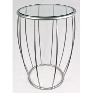 Aluminium Round Open Work Table Glass Top - 66.5cm