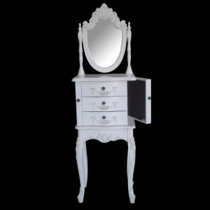 Paris Range White French Style Jewellery Cabinet With Mirror