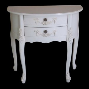 Paris Range White French Style 2 Drawer Half Moon Hall Side Tabl
