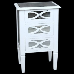 White Fret Mirror 3 Drawer Bedside Cabinet