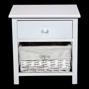 White Bedside Cabinet with 1 Drawer & 1 Basket