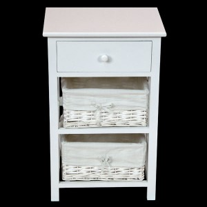 White Bedside Cabinet with 1 Drawer & 2 Wicker Baskets