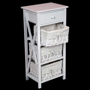 White Bedside Cabinet with 1 Drawer & 3 Wicker Baskets