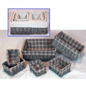 Wicker Oblong Storage Baskets Set of 6