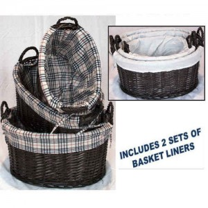 Wicker Oval Washing Baskets Set of 3