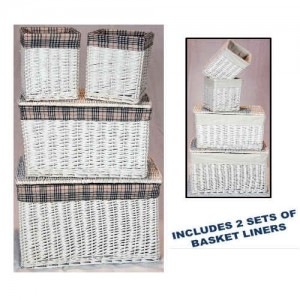 Wicker Linen Storage Baskets Set of 4