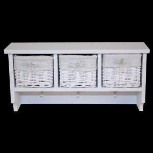 White Wall Shelf with 3 Wicker Baskets